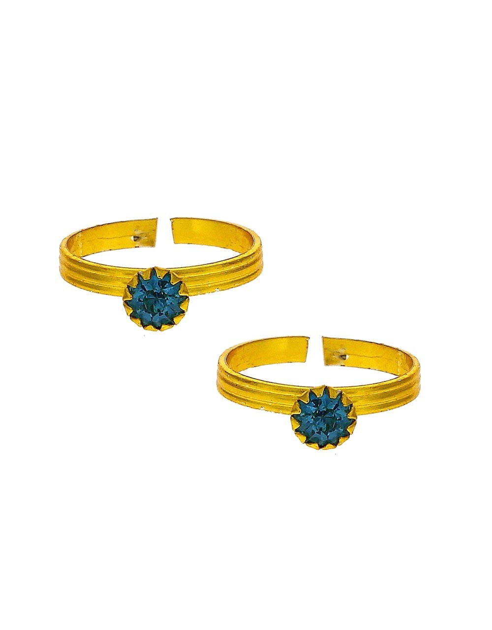 Attractive sky- blue stone golden finish bichhudi for woman
