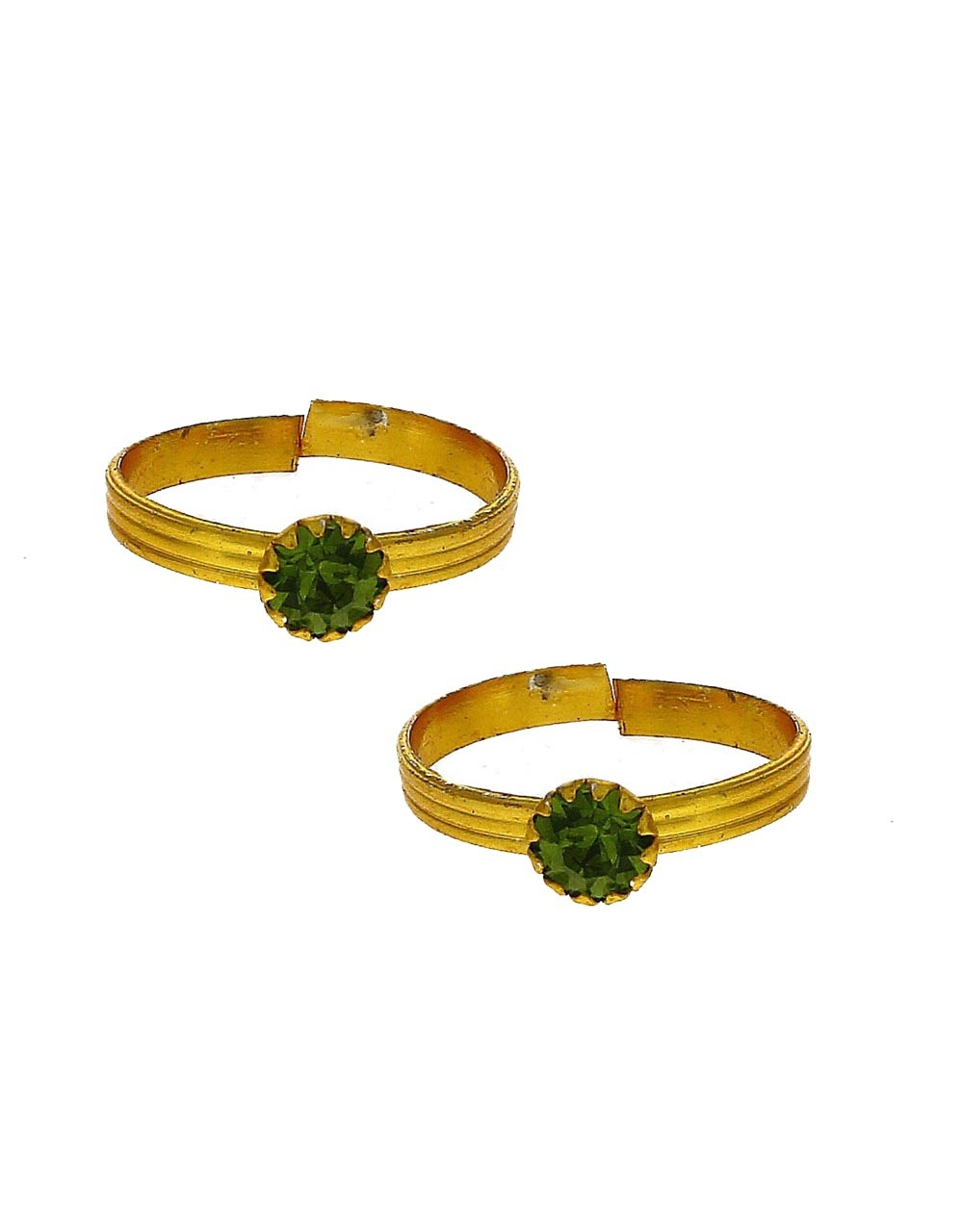 Attractive green stone golden finish bichhudi for woman