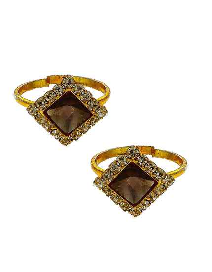 Attractive brown stone golden finish bichhudi for woman