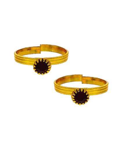 Attractive black stone golden finish bichhudi for woman