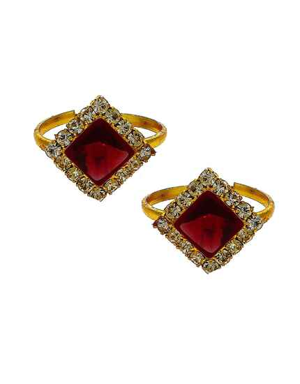 Attractive ruby stone golden finish bichhudi for woman