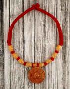 Adorable Red Colour Handmade Geru Polish Thread Necklace for Women/Girls