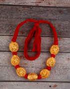 Unique Red Colour Handmade Geru Polish Thread Necklace for Women/Girls