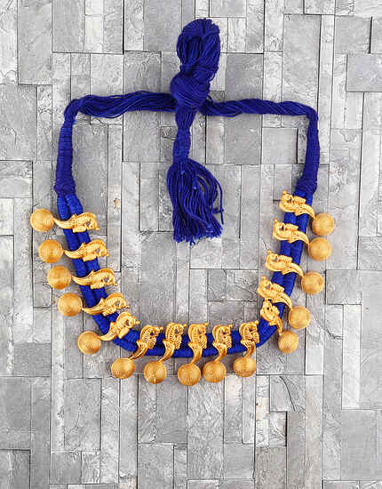 Unique Blue Colour Handmade Geru Polish Thread Necklace for Women/Girls