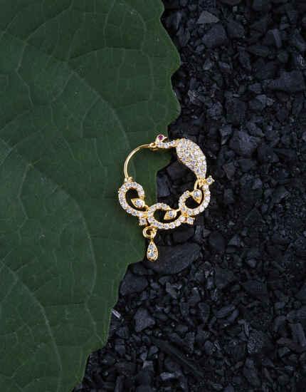 Peacock design Stylish American Diamond Nose Rings for Women