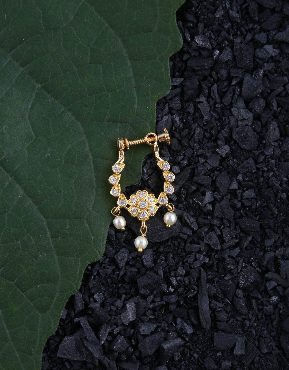 Gold Tone Floral Design American Diamond Studded Nose Ring