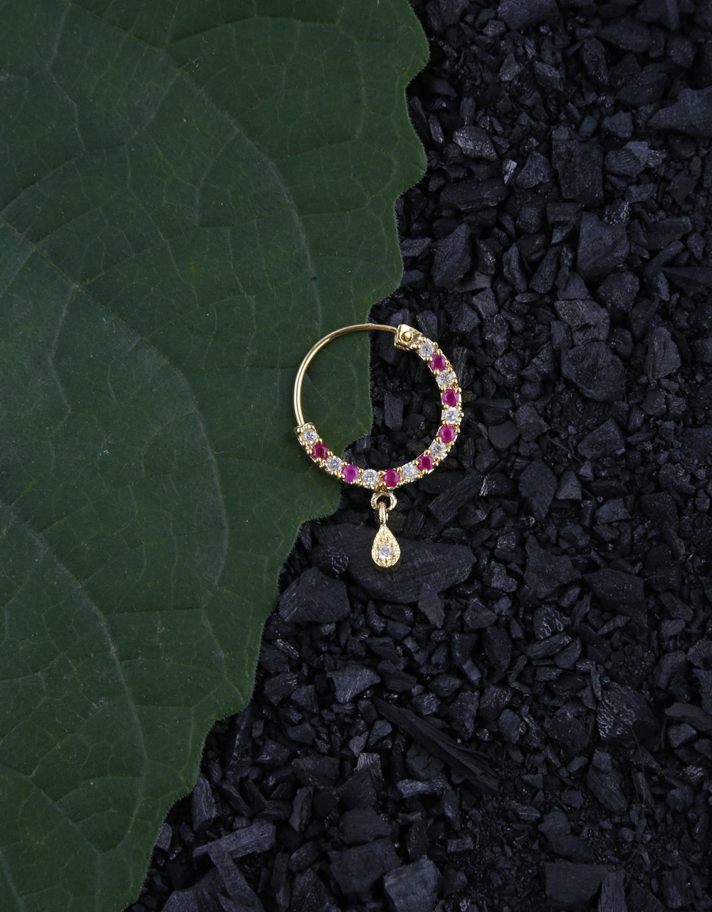 Pink Colour Designer Nose Ring Studded Diamonds & Ruby