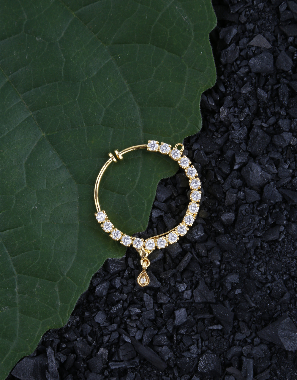 American Diamond Embedded Clip-on Round Nose Ring