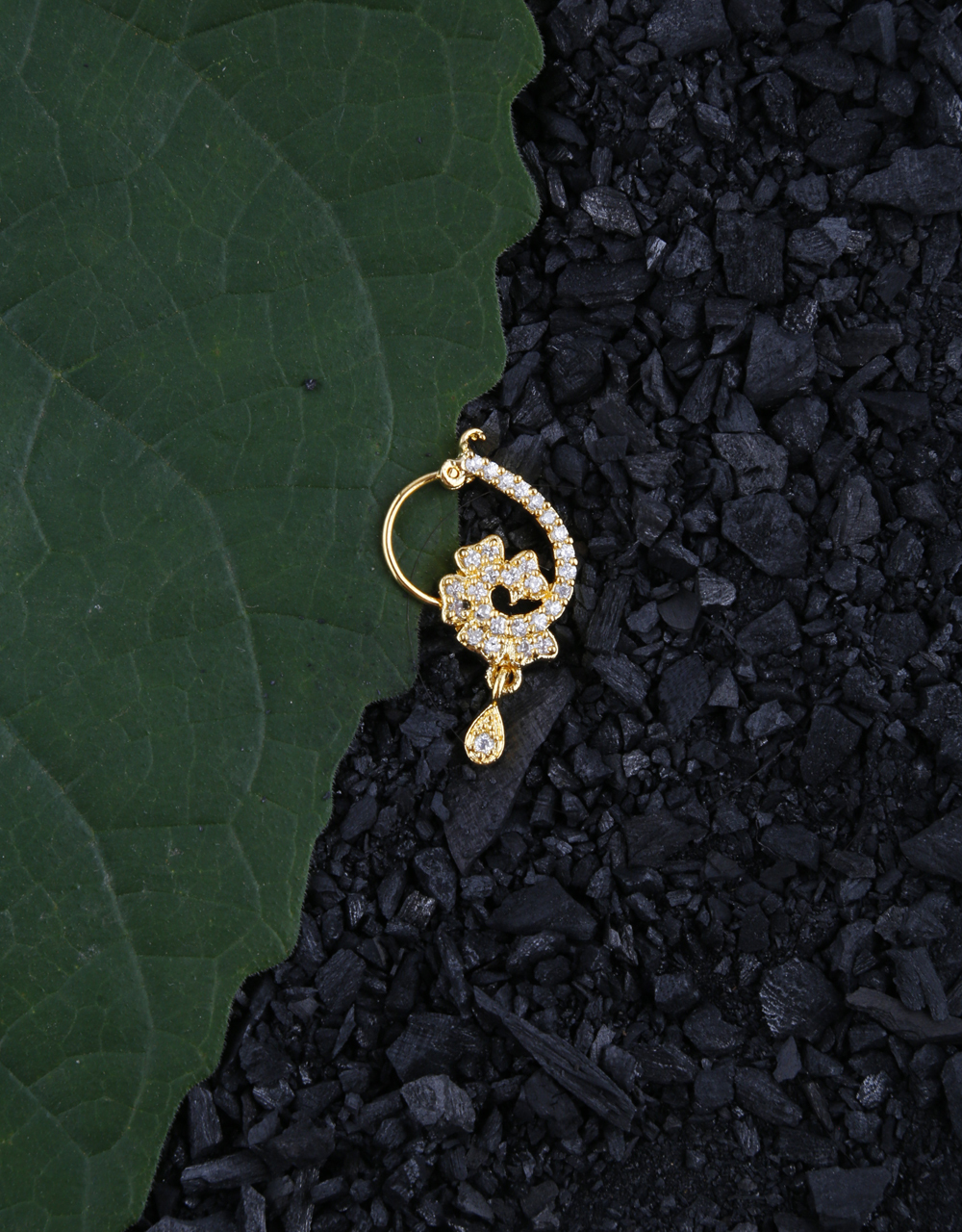 Floral Design Appealing Diamond Studded Piercing Nose Ring for Girls