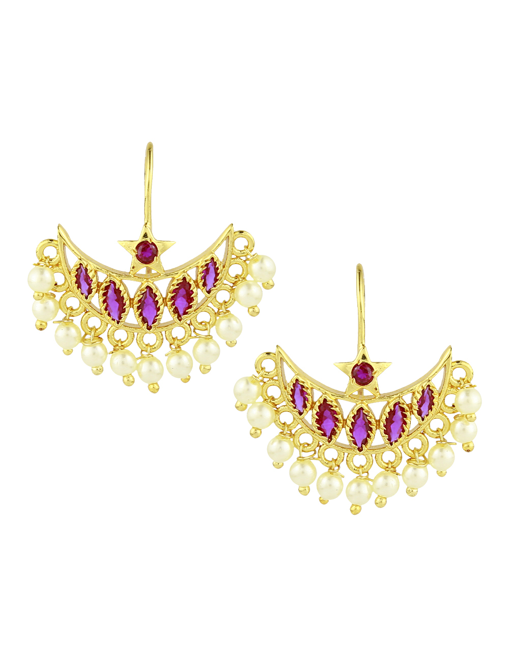 Attractive pink and white stones studded bugadi with pearl droplet