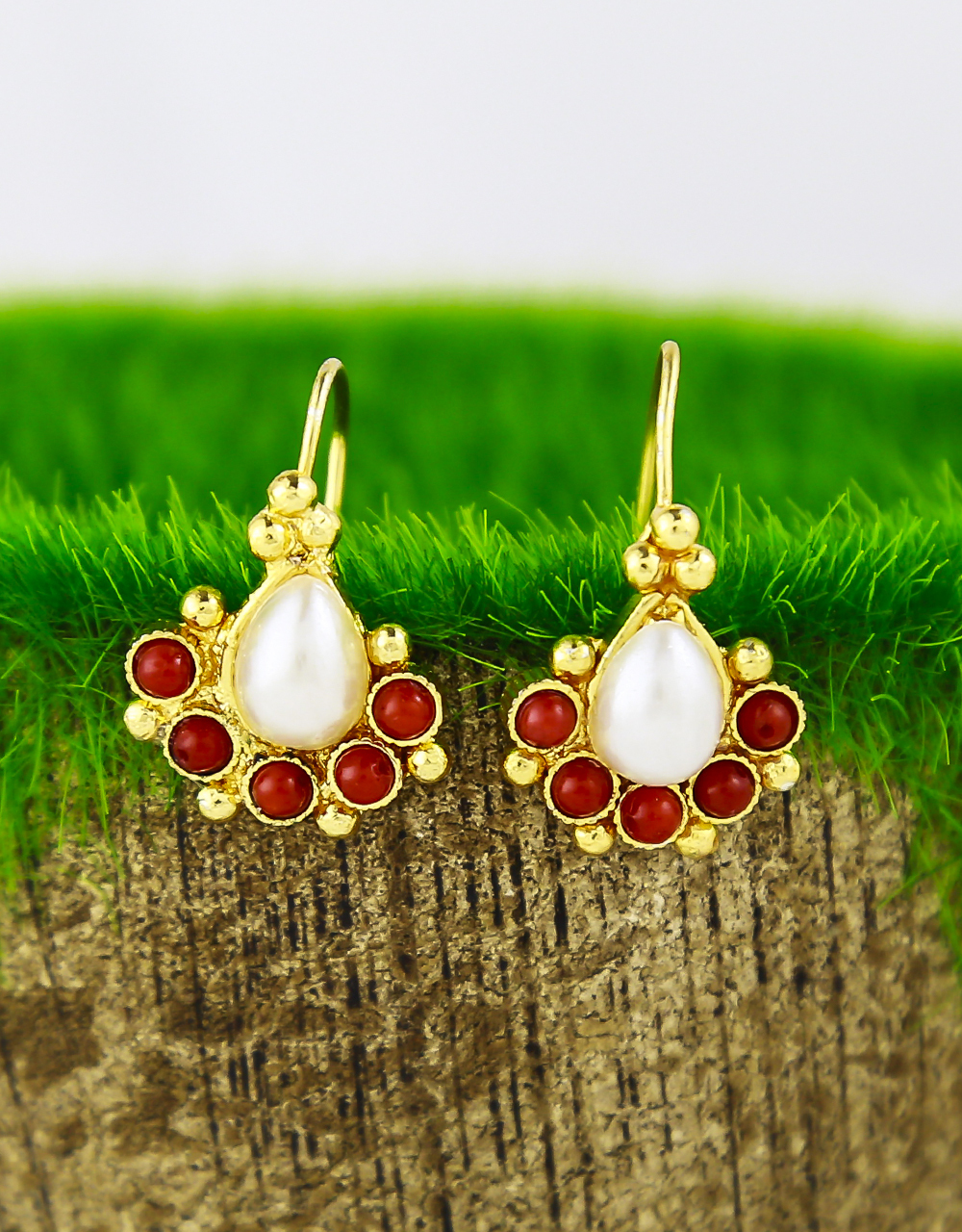 Red Colour Traditional Bugadi/Studs Earrings Press On Earrings For Women/Girls