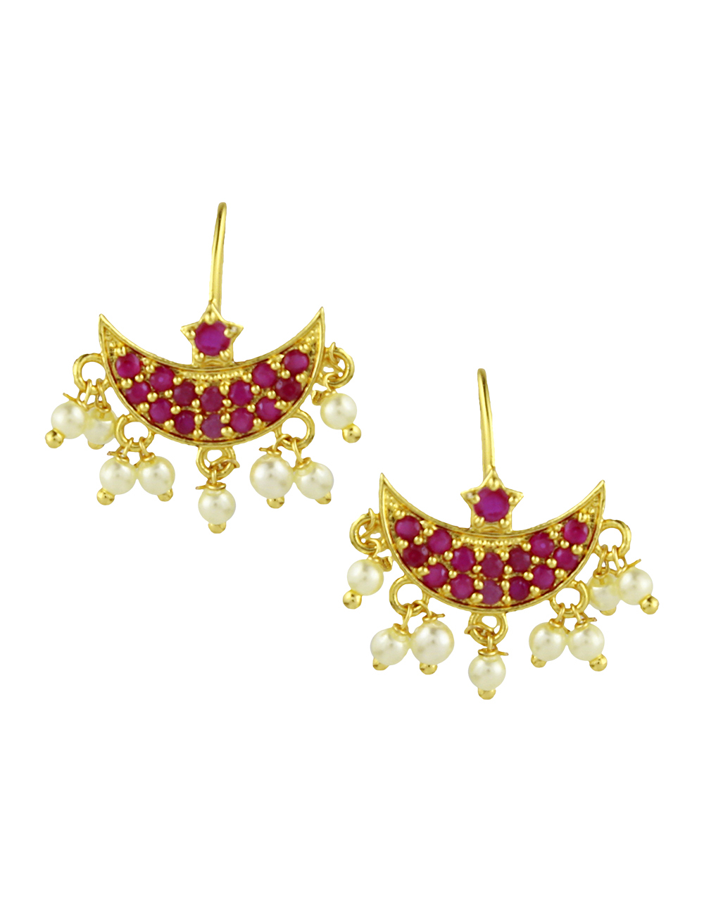 Women's Attractive pink stones studded bugadi with pearl droplet