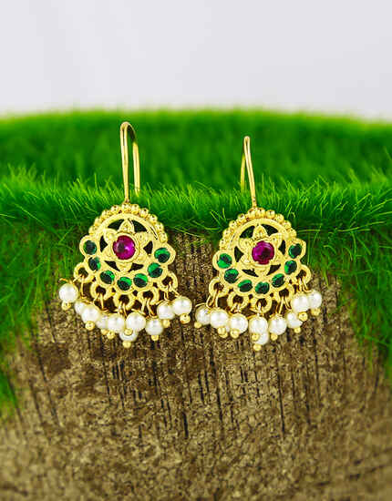 Multi-Colour Studded with Pink Colour Stone Traditional Clip On Bugadi Earrings for Women/girls