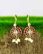 Pink Colour Designer Maharashtrian Traditional Bugadi Earrings for Women/Girls