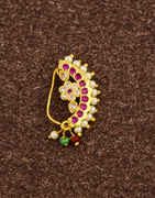 Adorable Pink Colour Studded Stone with Pearls Beads Traditional Banu Nath Nose Pin for Women (Press On Nath)