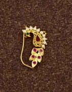 Unique Peacock Inspired Golden Finish Stone Studded Maharashtrian Press On Nath