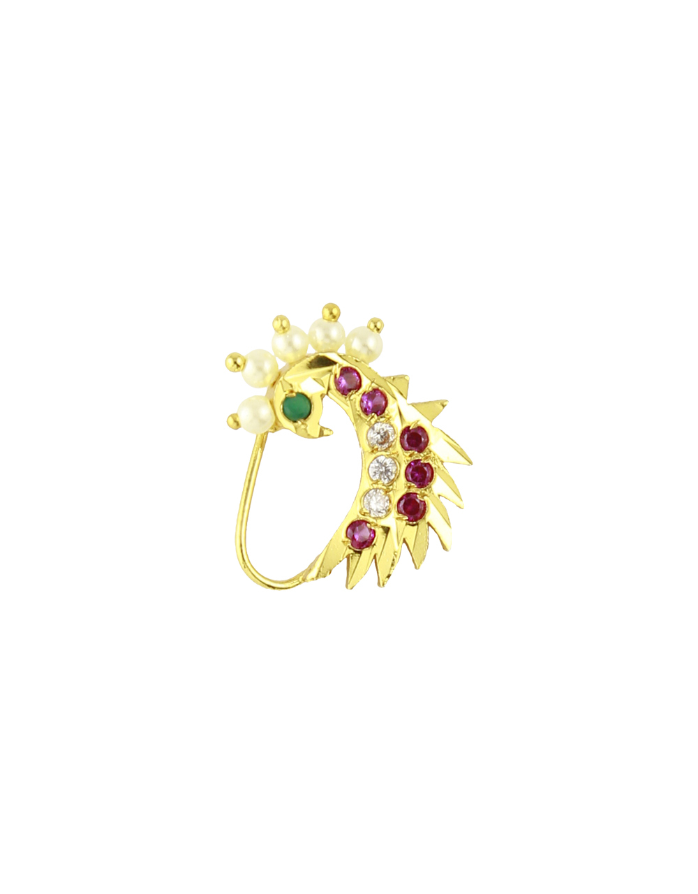 Classy Pink Colour Studded Stone Peacock Designed Traditional Nath Nose Ring for Women/Girls (Non Press Nath)