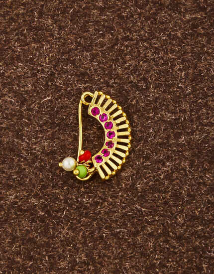 Exclusive Pink Colour Studded Stone with Pearls Beads Traditional Banu Nath Nose Pin for Women (Press On Nath)