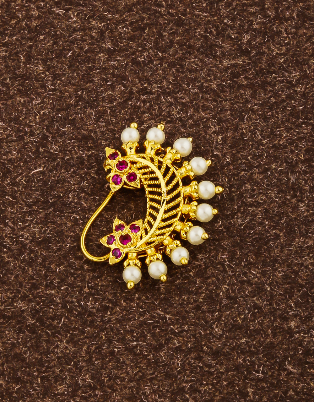 Dazzling Pink Colour Studded Stone Traditional Banu Styled Nath Nose Ring for Women (Press On Nath)