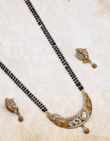 Latest Matte Gold Finish Adorable Mangalsutra For Women