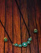 Green Colour Floral Design Beautiful Long Mangalsutra For Women
