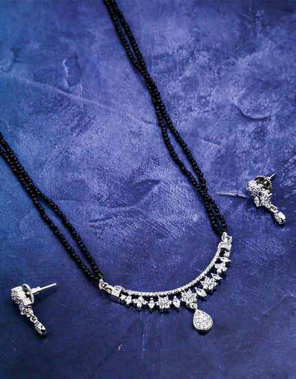 Silver Finish Appealing American Diamond Studded Mangalsutra For Women
