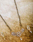 Stylish Short Mangalsutra For Women Studded With American Diamond