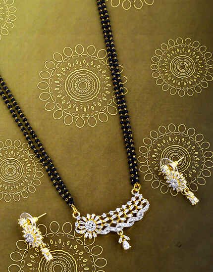 Designer Diamond Studded Double Layer Short Mangalsutra For Women