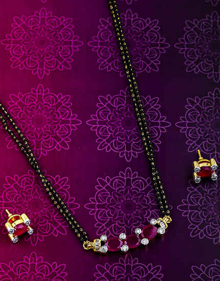 Pink Colour Designer Mangalsutra For Women