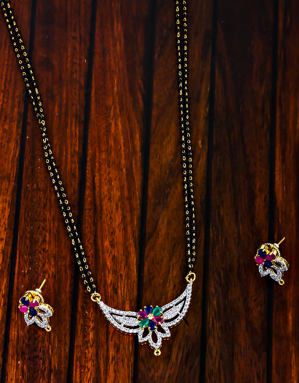 Multi Colour Dazzling Mangalsutra Set For Women