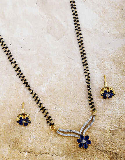Blue Colour Floral Designer Mangalsutra For Women