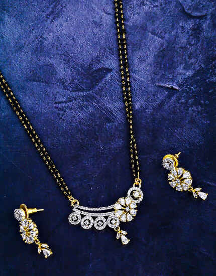 Stunning American Diamond Studded Beautiful Mangalsutra Set For Women