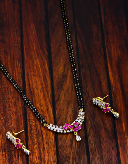 Pink Colour Dazzling American Diamond & Ruby Stone Studded Mangalsutra