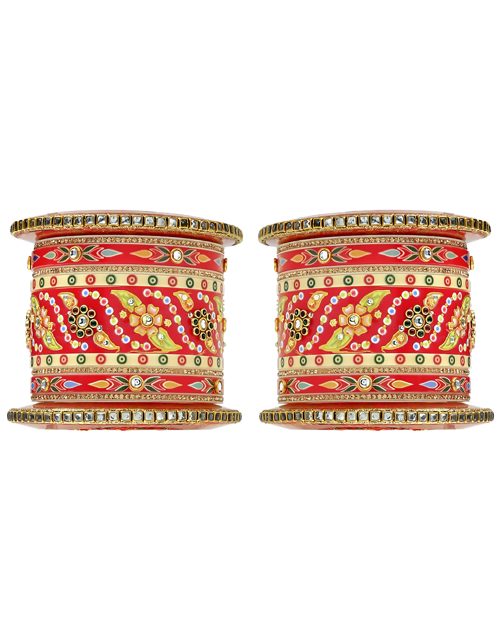 Red Colour Adorable Pair of Rajasthani Pattern Chuda Set for Women