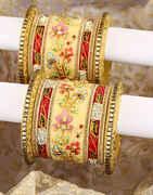 Multi Colour Floral Design Adorable Rajasthani Pattern Chuda Set for Women