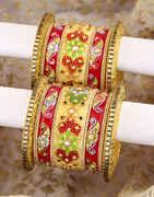 Multi Colour Designer Pair of Chuda Bangles Set for Women
