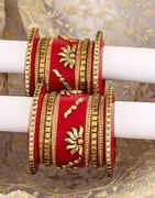 Red Colour Sparkling Stones Embedded Designer Chuda Set