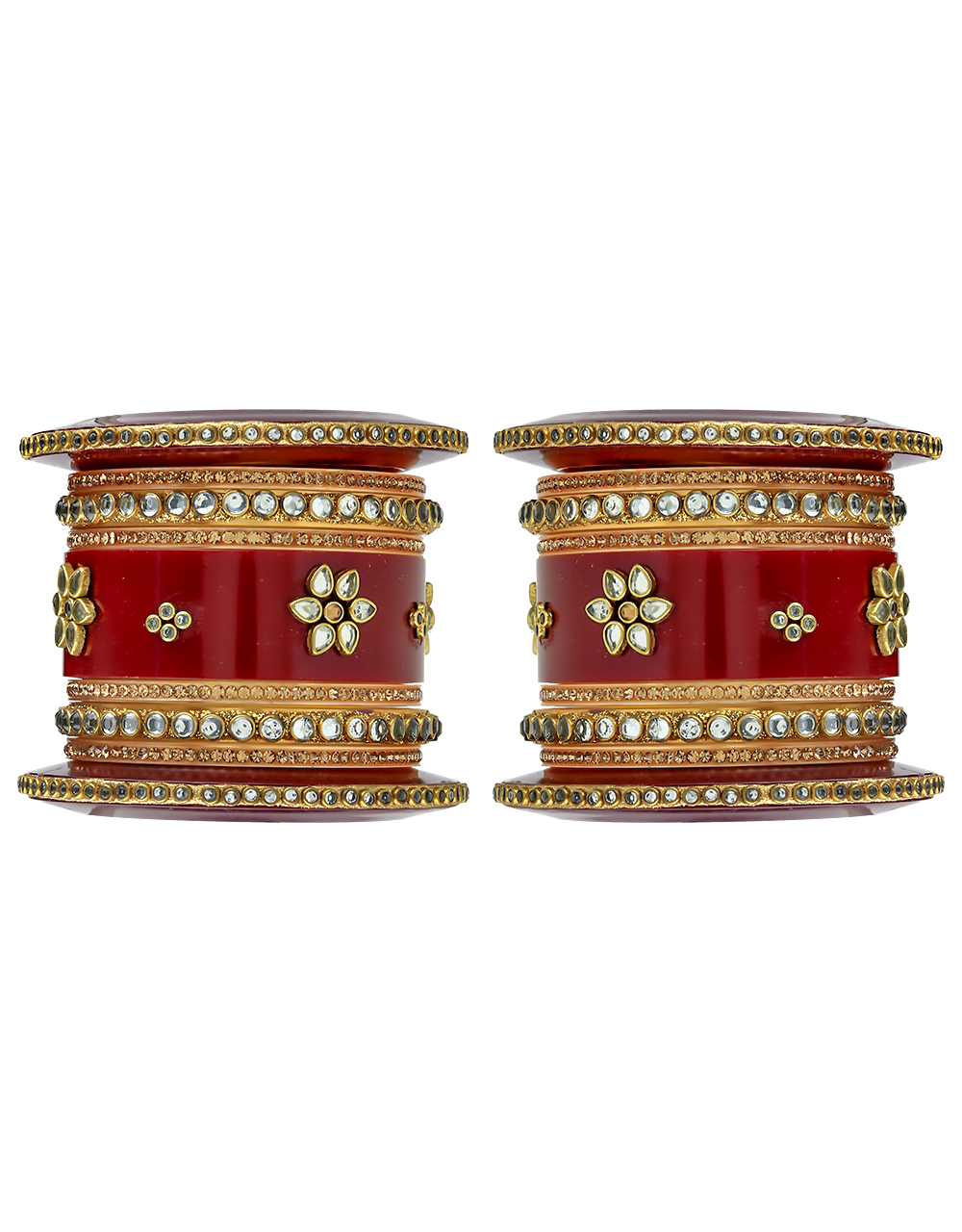 Maroon Colour Dazzling Chuda Bangles Set for Women