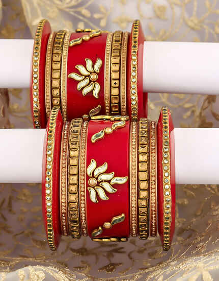 Red Colour Beautiful Pair Designer Chuda Bangles for Women