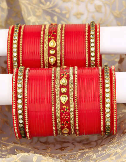 Red Colour Beautiful Pair of Kundan Studded Bridal Chura Set