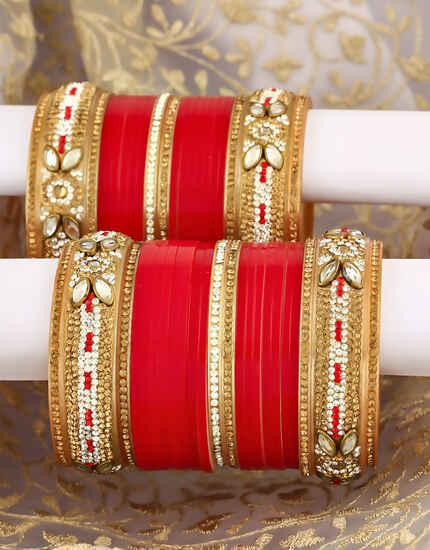 Red colour Fancy Pair of Punjabi Bridal Chura Set for Women