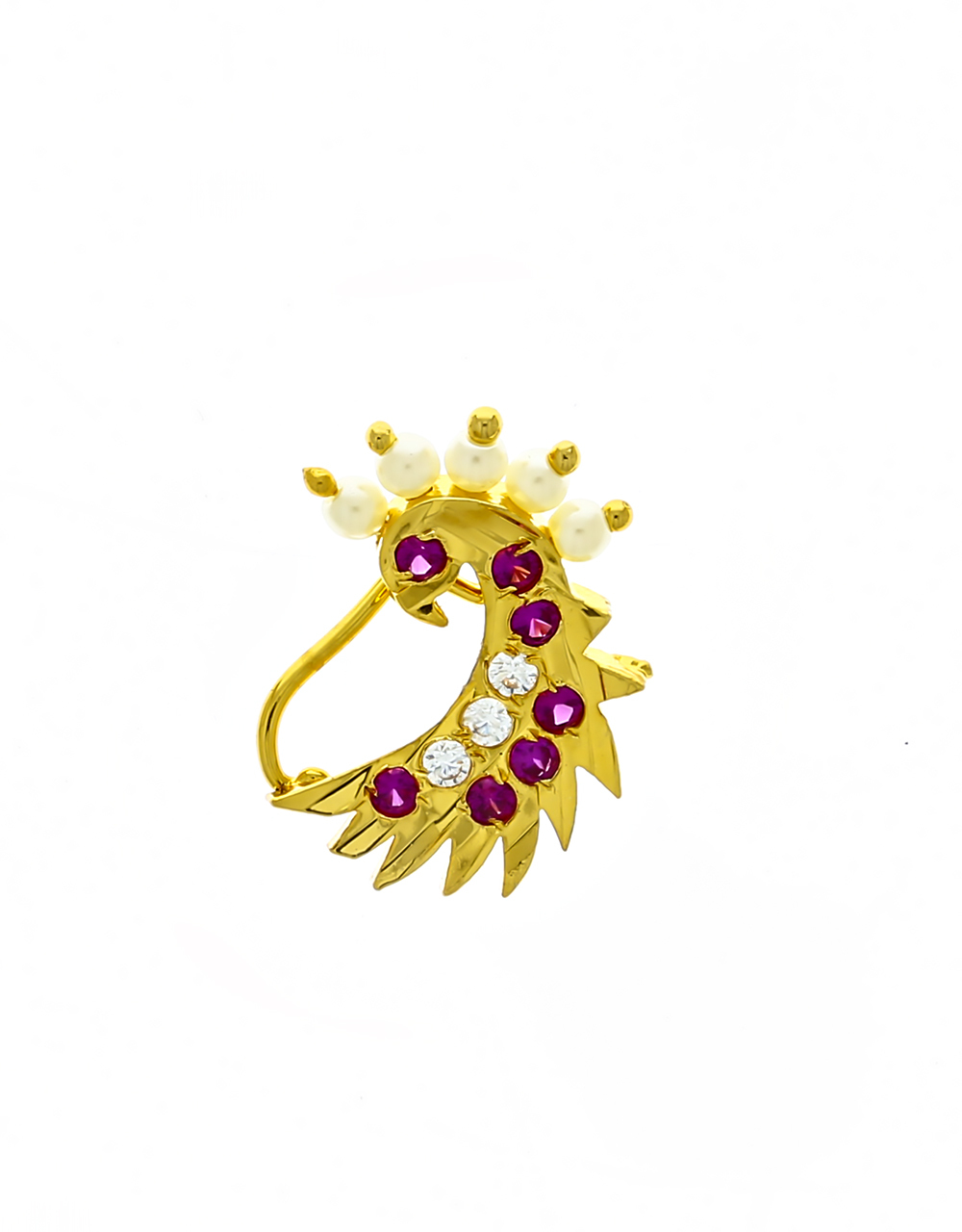 Fancy Peacock Design Pink Stones Studded Nath for Women