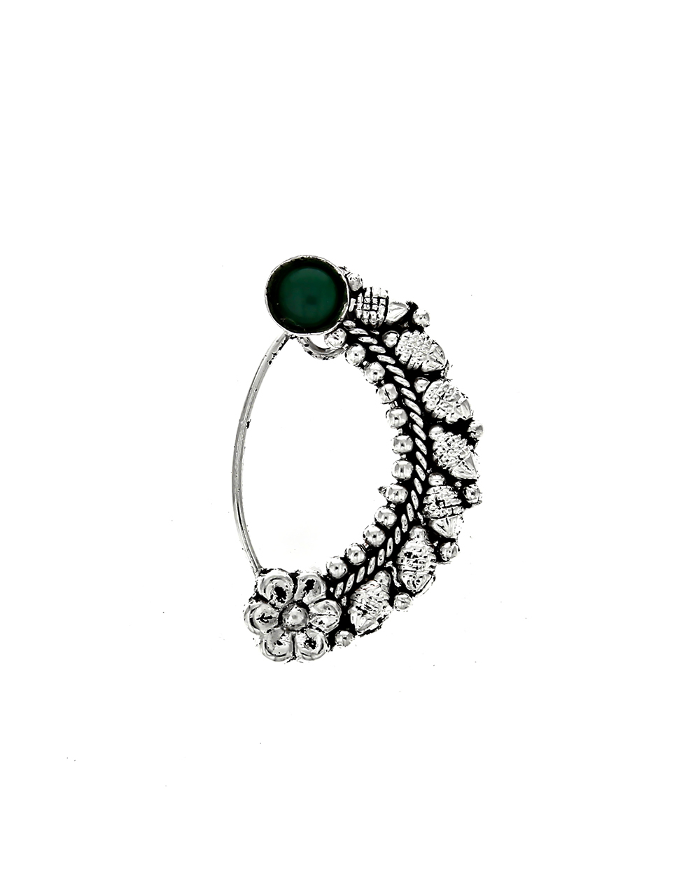 Green Stone Embedded Oxidised Clip On Nath