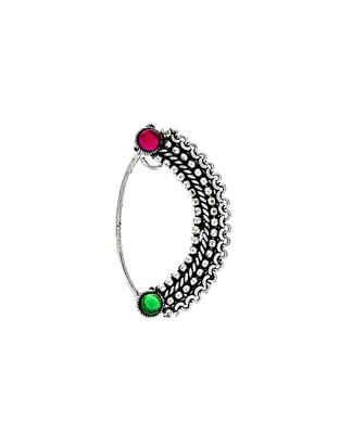 Designer Stone Studded Oxidised Clip On Nath for Women
