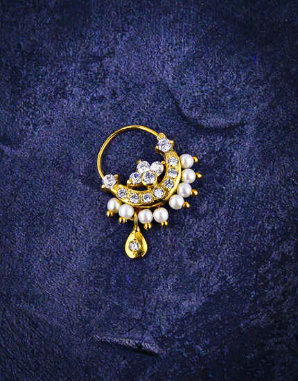 Golden Finish Adorable Diamond Studded Nose Ring for Women