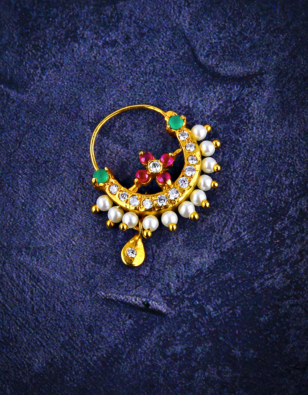 Pink-Green Colour Beautiful Sparkling Stone Studded Nose Ring for Women
