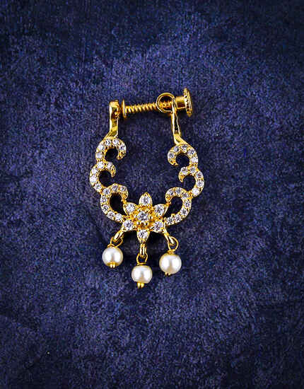 American Diamond Studded Beautiful Clip On Nath for Women