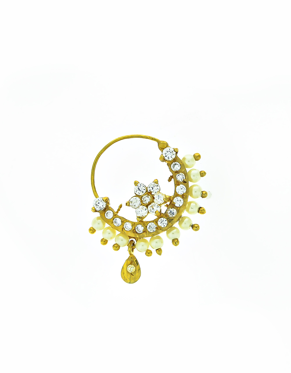Golden Finish Designer Diamond Fancy Nose Ring for Women