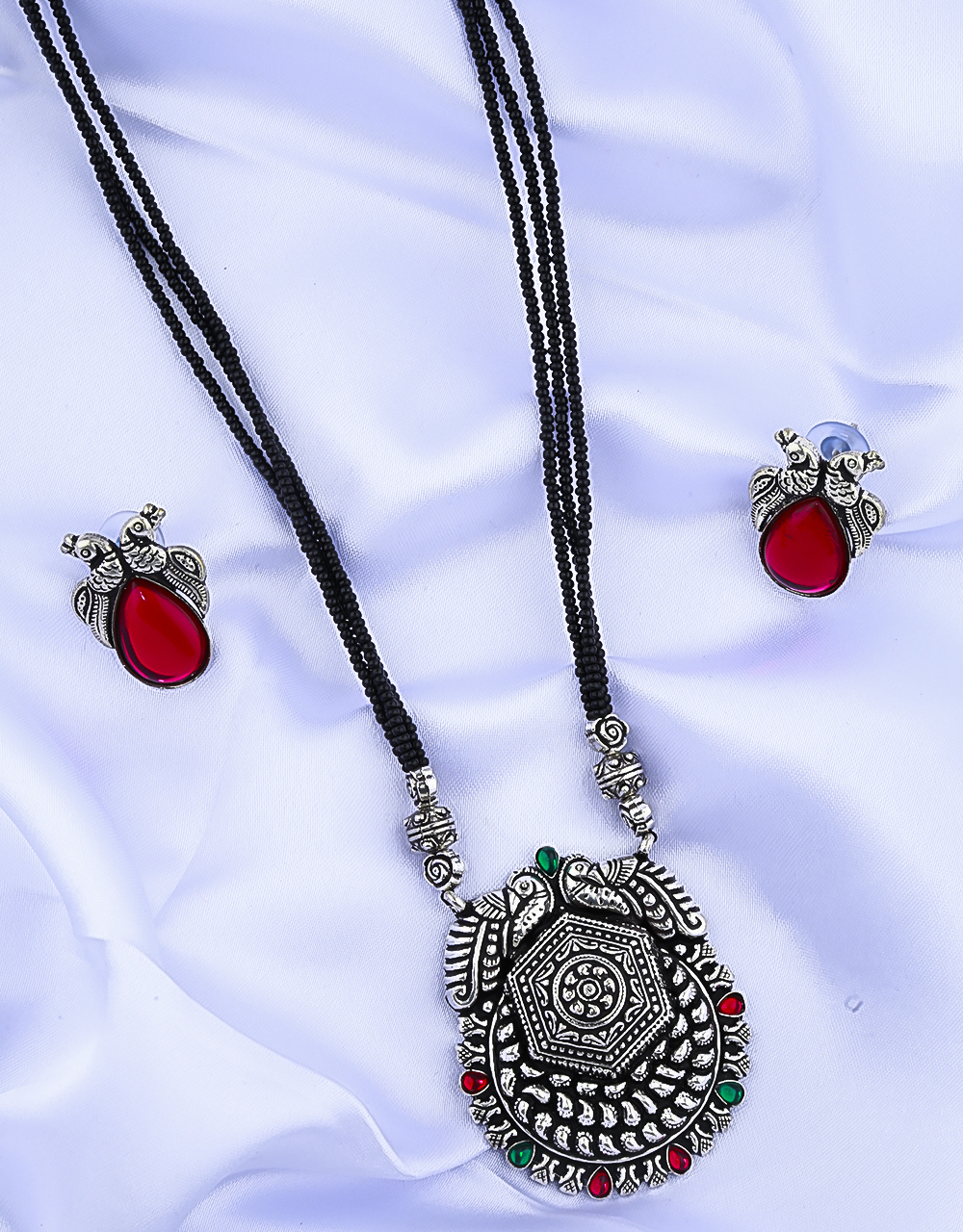Peacock Inspired Adorable Oxidised Long Mangalsutra for Women