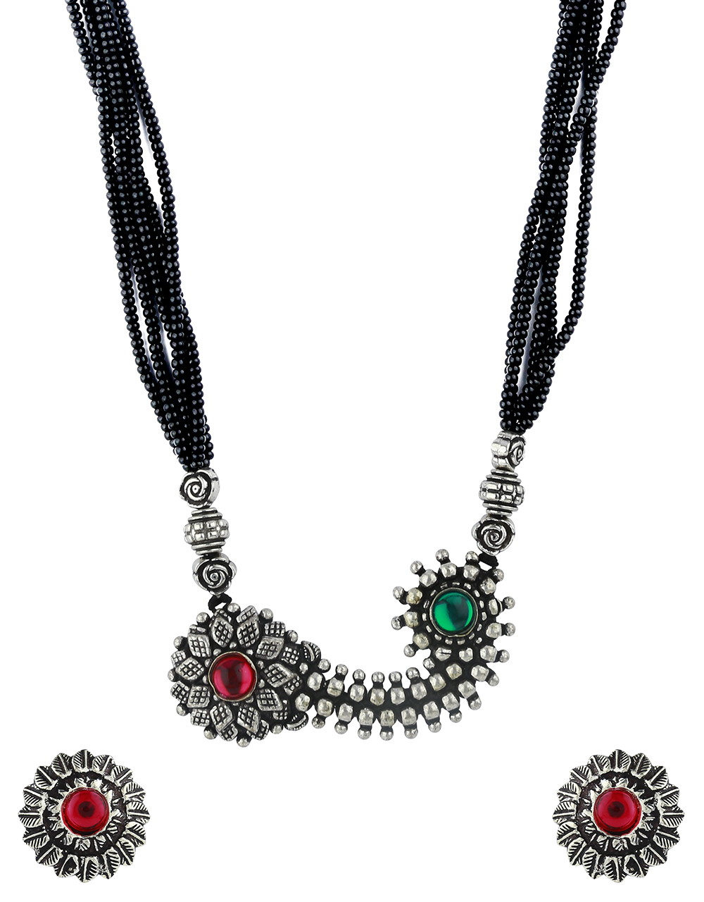 Adorable Silver Oxidised Short Mangalsutra for Women